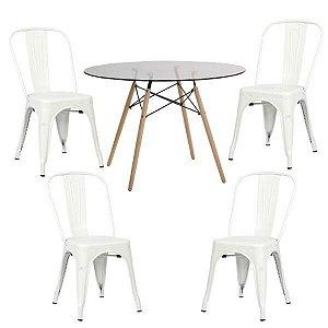 Conjunto Mesa de Vidro 120 cm + 4 Cadeiras Phoenix Brancas