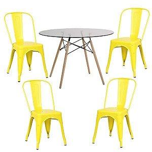 Conjunto Mesa de Vidro 120 cm + 4 Cadeiras Phoenix Amarelo