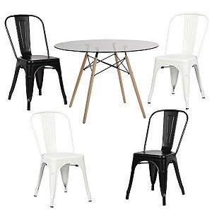 Conjunto Mesa de Vidro 120 cm + 4 Cadeiras Phoenix Brancas e Pretas