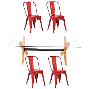 Conjunto Mesa Dakota e 4 Cadeiras Phoenix Vermelhas