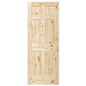 Porta De Madeira Sólida Rústica 6 Nós 60x210 Cm