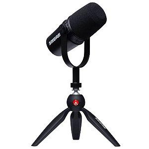 Kit Microfone Shure MV7 e Tripé Manfrotto PIXI