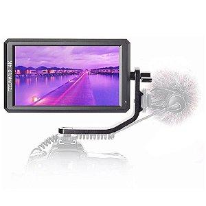 """Monitor Para Câmeras FeelWorld F6 5.7"""" Full HD com Suporte 4K e Braço Tilt"""