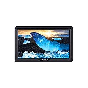 """Monitor HDMI Para Câmeras FeelWorld S55 5.5"""" com Entrada e Saída 4K"""
