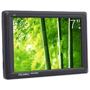 """Monitor 4K Para Câmeras FeelWorld 7"""" com Loop-Through HDMI"""