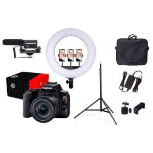 Combo Câmera Canon SL3 Youtuber com Microfone e Ring Light