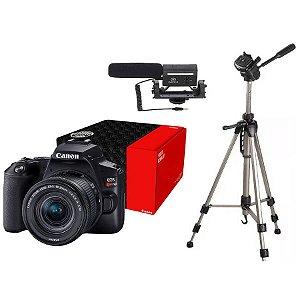 Combo Câmera Canon EOS Youtuber SL3 com Microfone e Tripé