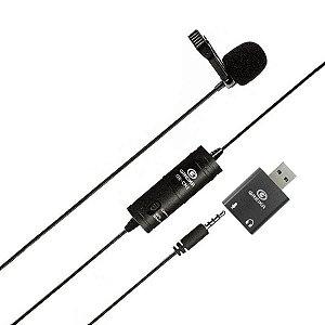 Microfone de Lapela Greika GK-LM1 USB Para Computador e Notebook