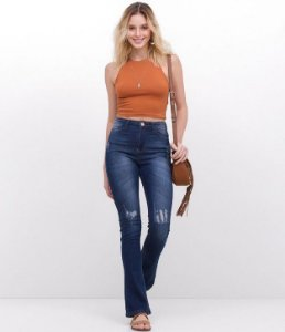 840ae07f1 Calça Skinny Jeans com Puídos - Nativa Black Jeans