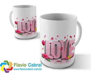 Caneca Love Flores