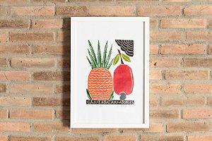 "Quadro ""Caju e abacaxi colorido"""