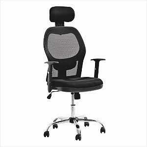 Cadeira para Escritório Presidente Comfort em Tela com Encosto de Cabeça - Preto - Bulk