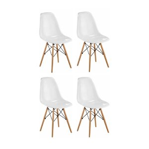 Conjunto 04 Cadeiras Eames sem Braço Base de Madeira - Branco - Bulk
