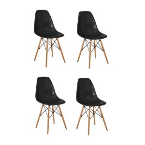 Conjunto 04 Cadeiras Eames sem Braço Base de Madeira - Preto - Bulk