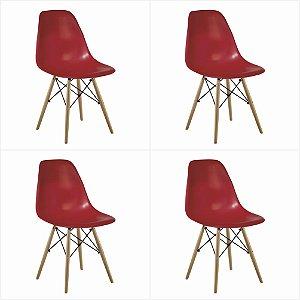 Conjunto 04 Cadeiras Eames sem Braço Base de Madeira - Vermelho - Bulk