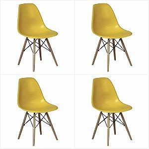 Conjunto 04 Cadeiras Eames sem Braço Base de Madeira - Amarelo - Bulk