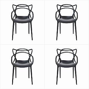 Conjunto 04 Cadeiras Urbana de Polipropileno - Preto -Bulk