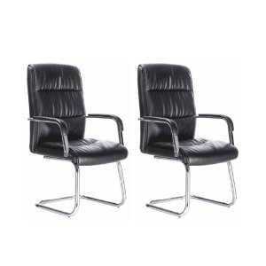 Conjunto 02 Cadeiras Visitante Plus Preta Bulk