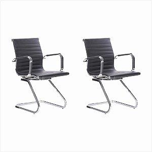 Conjunto 02 Cadeiras Visitante Office Preta Bulk