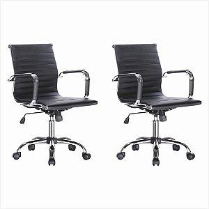 Conjunto 02 Cadeiras Diretor Office em Couro PU - Preto - Bulk