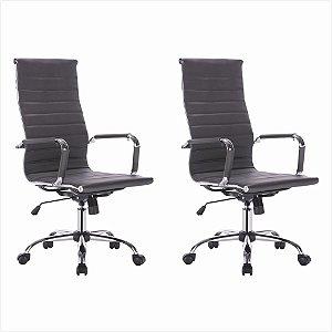 Conjunto 02 Cadeiras Presidente Office em Couro PU Preta Bulk