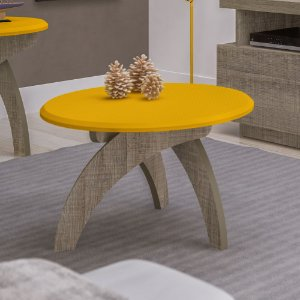 Mesa de Centro Jade Amarelo/Canela