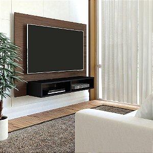 Painel para TV até 47 Polegadas com Nicho Flash Artely Amêndoa C/Preto