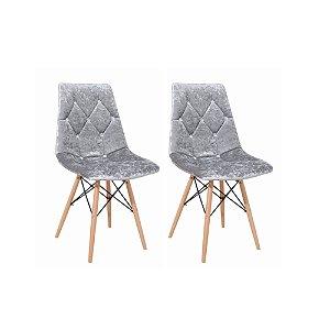 Cadeira Botonê Estofada Cinza (4 unidades)