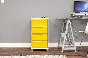 Gaveteiro Maia 4 gavetas Branco/Amarelo