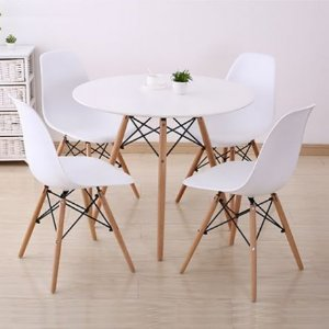 Conjunto Sala de Jantar com Mesa Redonda e 4 Cadeiras Eames