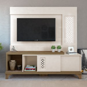 Home Para TV 55 Polegadas Summer Artely Off White/Pinho