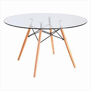 Mesa de Jantar Redonda Eames Tampo de Vidro 1,20 cm Bulk
