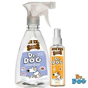 Kit Dr. Dog Banho a seco Cães e Gatos 500ml e perfume Carinho Bom 120ml