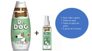 Kit Pet para banho em casa Dr. Dog shampoo e perfume