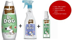Kit Shampoo & Perfume e Banho seco banho em casa Dr. Dog Cães e Gatos