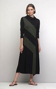 Vestido Midi Bicolor Malha