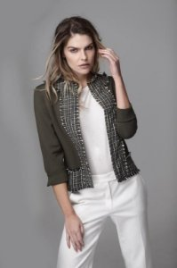 Casaqueto Malha Detalhe Tweed