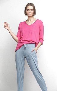 Blusa Decote V 3/4 Pink