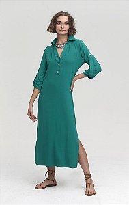 Vestido Malha Gola Polo Verde
