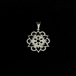 Pingente Mandala Floral Prata 925