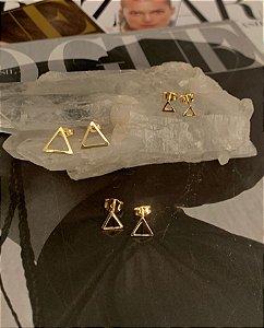Trio Triângulos Vazado Prata 925 com banho de Ouro