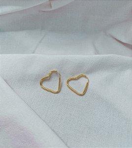 Argolas Coração 2cm Prata 925 com Banho de Ouro