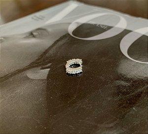 Argolinha Unitária Cravejada 6mm Prata 925