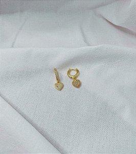 Argolinhas Coração Prata 925 com Banho de Ouro