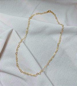Gargantilha Corações Prata 925 com Banho de Ouro