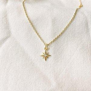 Colar Estrela Cadente Cravejada Prata 925 com Banho de Ouro