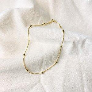 Tornozeleira Bolinhas Veneziana Prata 925 com Banho de Ouro