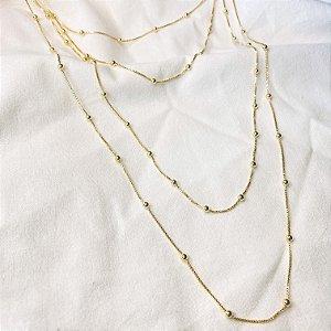 Corrente Bolinhas Prata 925 com Banho de Ouro