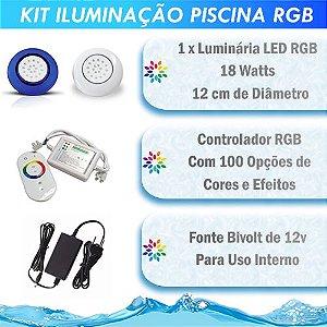 Kit Iluminação Piscina LED RGB 1x18 Watts - 12 cm