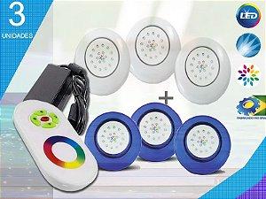 Kit Completo Iluminação Piscina Enertech LED RGB 3x18 Watts - 12 cm